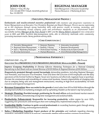Executive/Management Resume