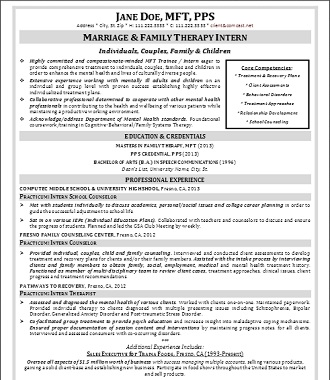 Marriage Family Counseling Resume